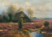 "oil painting handpainted on canvas "" Farmhouse in the Heideland """