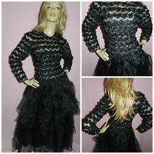 VERA MONT BLACK SILVER NET TULLE GOTHIC PRINCESS PROM PARTY DRESS 12-14 M 1980s
