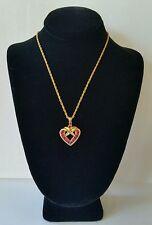 Vintage Genuine Ruby Heart Pendant Sterling 925 14K Vermeil Gold Over Necklace