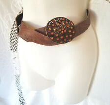 "Brown Embossed Belt with Orange Rhinestone Buckle 47 1/2 "" length Cowgirl Boho"
