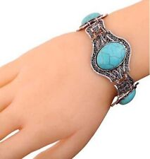 Fashion Jewelry Silver Alloy Turquoise Stone Bracelet Bangle Toggle Clasp