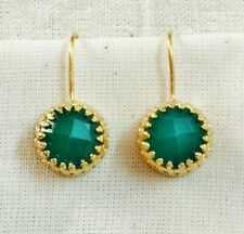 ENCHANTING HANDCRAFTED GREEN ONYX 14K YELLOW GOLD VERMEIL EARRING