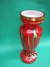 MURANO  MILLEFIORI RED TALL ART GLASS  VASE W GREEN STRAPS RETRO 1950's