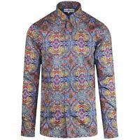 NEW MADCAP RETRO MOD MENS 60s 70s SPEAR COLLAR Gangster SHIRT in PAISLEY MC473