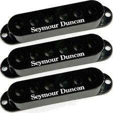 Set of 3 Seymour Duncan Strat Single Coil Pickup Covers, Black w/Logo, NEW!