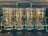 Culver 50th Anniversary Set Of 8 Hiball Glasses With Gold Trim And Caddy