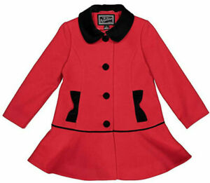 Rothschild Girls Red & Black Faux Wool Coat Size 6X