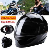 DOT Gloss Black Full Face Modular Flip Up Visor Motorcycle Street Helmet Race