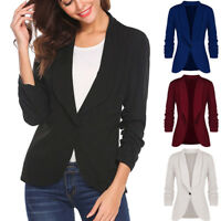 Fashion Women OL Long Sleeve Blazer Elegant Slim Suit Casual Jacket Coat Outwear