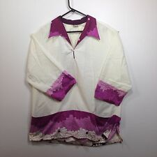 Genuine Hawaiian Aloha Shirt - Lauhala XL long sleeves VINTAGE purple and white
