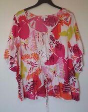 Women's Fashion Bug floral top, size 2X.  white, pink, lace elastic waist *945