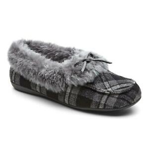 Vionic Womens Cozy Juniper Moccasin Slippers Grey Plaid Bow Slip On Size 9