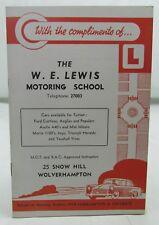 W.E.LEWIS MOTORING SCHOOL WOLVERHAMPTON VINTAGE 1960s/1970s MOTOR CAR TUITION*