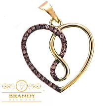 INFINITY BRANDY DIAMONDS® CHOCOLATE BROWN 10K GOLD WITHIN MY HEART PENDANT .15CT