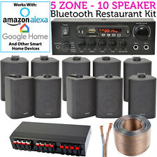 10 Speaker, 5 Zone - Background Music Kit Bluetooth Sound System -Restaurant/Bar