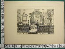 1885 PRINT STRATFORD-ON-AVON ~ THE CLOPTON PEW TOMBS EFFIGIES