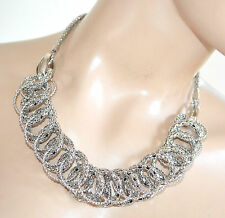 COLLANA ARGENTO girocollo donna anelli collier necklace elegante halskette F270