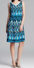 Anne Klein Dress Sz 8 Capri Blue Multi Sleeveless V-Neck Swing Career Cocktail