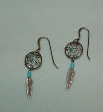 STERLING DANGLE PIERCED EARRINGS WITH TURQUOISE BEADS