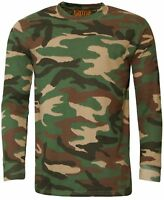Mens Game Woodland Camouflage Long Sleeve T Shirt | Top