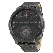 Diesel Machinus 4 Time zone Dial Black Fabric Strap Mens Watch DZ7358