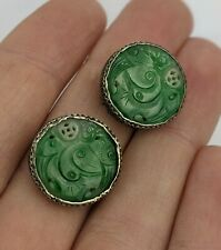 Chinese Antique Carved Apple Jade & Silver Earrings Coin Design Qing / Republic