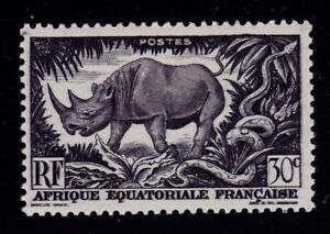 FRENCH EQUATORIAL AFRICA   SCOTT# 167  MH ANIMAL/SNAKE TOPICAL