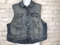 Torrid Distressed Denim Jean Button Vest Sleeveless Jacket Plus Size 2 18/20