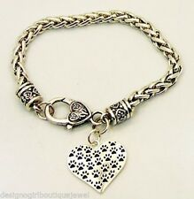 Paw Print Heart Silver Plated Chain Bracelet Dog Puppy