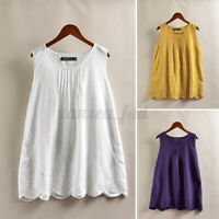 ZANZEA 8-24 Women Embroidered Floral Top Tee Shirt Vest Cami Singlet Lace Blouse