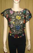 Unbranded Black Multi Sequin Embroidered Top/Poncho~No Tag (Best guess is Small)