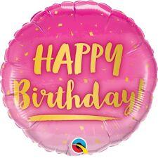 Rose Joyeux Anniversaire Doré Texte 45.7cm Fête Ballon Plat Décoration Qualatex