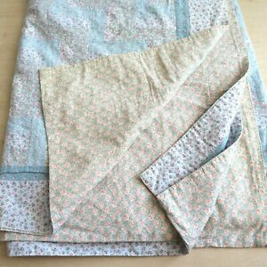 Handmade Reversible Quilt Blanket Blue Pink Floral Patchwork 88 x 80 Twin Heavy