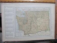 New ListingOrig 1907 Washington / Wisconsin Maps Showing Towns Rivers Mountains Railroad