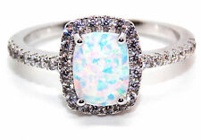 Sterling Silver Fire Opal And Diamond 3.6ct Ring (925) Size 9 (R)