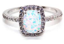 Argento Sterling Opale di Fuoco e anello di diamanti 3.6 KT (925) Taglia 7 (N)