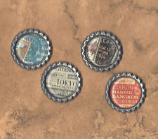 Graphic45 CITYSCAPES #401 Antq Silver Flat Bottle Cap Accents TRAVEL