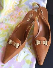 New PRADA Tan Brown Leather Heels Pumps Shoes Women Sz 39/8 Point Toe Rope Decor