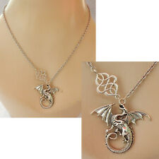 Dragon Necklace Pendant Silver Celtic Knot Jewelry Handmade Fashion Chain Women