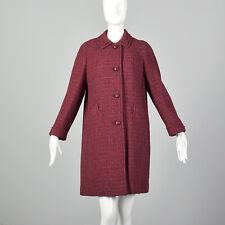 M 1960s Red Coat Scottish Plaid Wool Tweed Medium Weight Fall Winter 60s VTG