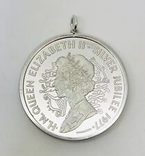 Solid 0.925 1952 1977 Silver Jubilee Coin & Pendant Mount Weight 33.67 Grams