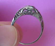 14K ANTIQUE VINTAGE ART DECO FLORAL FILIGREE OLD CUT DIAMOND ENGAGEMENT RING