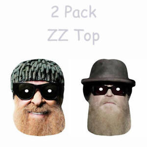2 Pack Dusty Hill & Billy Gibbons - ZZ Top Celebrity Singer Card Mask - Pre Cut