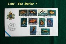 Francobolli a tema pesci e animali marini, di San Marino, tema pesci