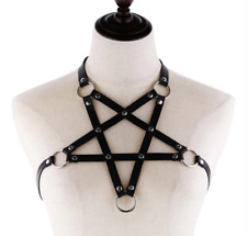 Faux Leather Pentagram Harness with Studs & O Rings Gothic Fetish Party Bondage