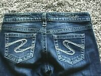 "Silver Jeans Co AIKO Bootcut size 29 Med Wash actual 32 x 29.5"" thick stitch"