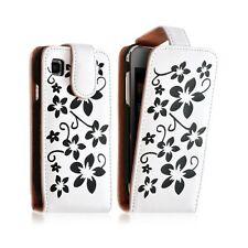Housse coque etui pour Samsung Galaxy SCL i9003 motif fleur couleur blanc + Film