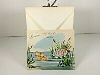 "Vintage 3D Mid Century 1950's Greeting Card ""Baby"" Ducks w Envelope"