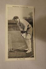 1953 - Vintage - Morning Foods Ltd. - Cricket Card - D. Tallon - Queensland.
