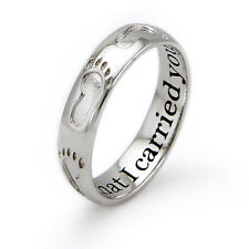 Sterling Silver 925 Footprints In The Sand Religious Ring
